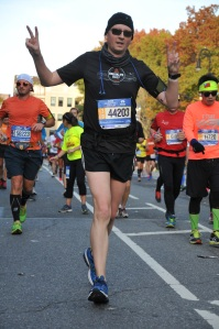 Looking OK at about mile 22... I was faking!